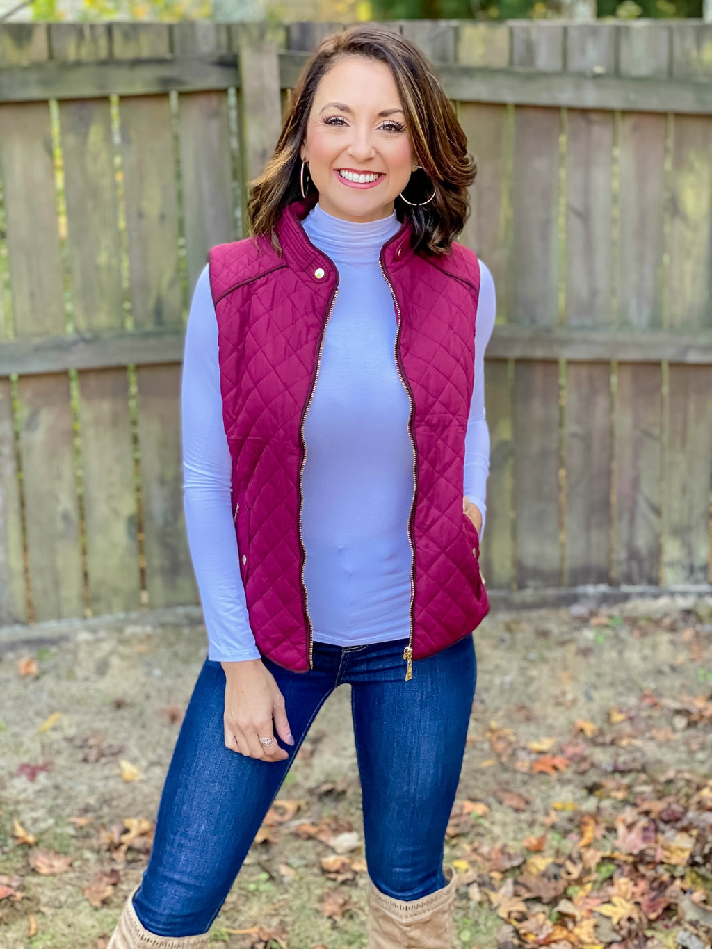 Finely Quilted Vest (Burgundy)