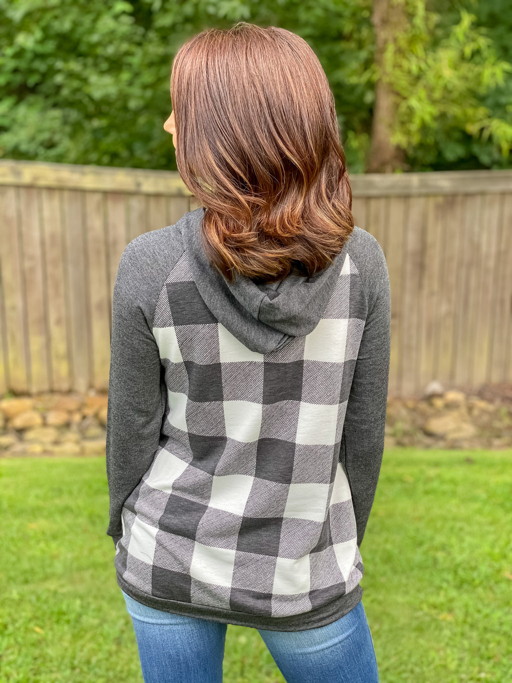 Easy Days Plaid Hoodie (White Buffalo Plaid)