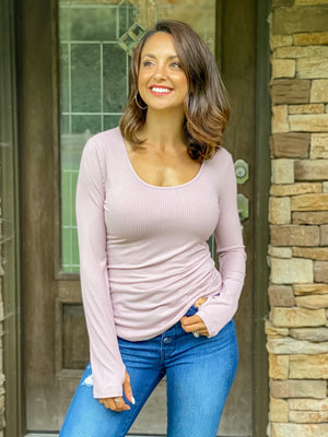 Basic Twist Ribbed Top (Mauve)