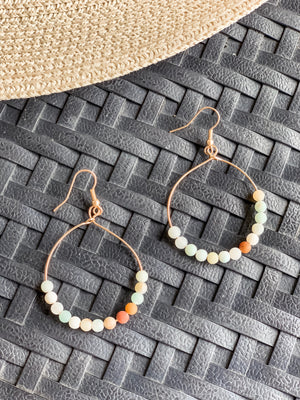 Beaded Beauty Amazonite Hoops