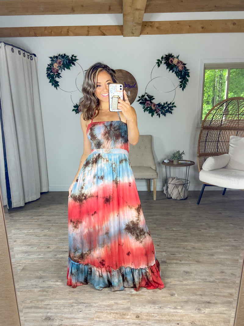 """Maxi""mize My Cuteness Tie Dye Halter Maxi Dress"