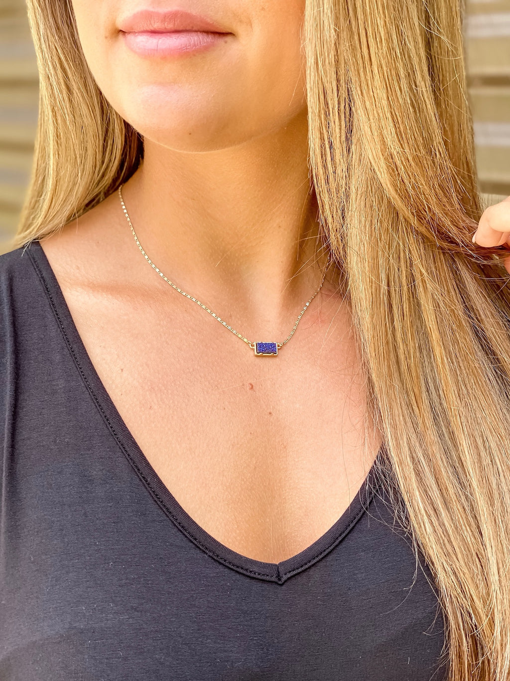 Mini Druzy Adjustable Necklace (Navy Blue)