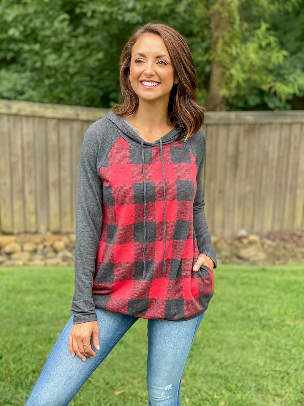 Easy Days Plaid Hoodie (Red Buffalo Plaid)