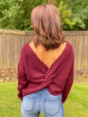 Twist & Shout Sweater (Wine)