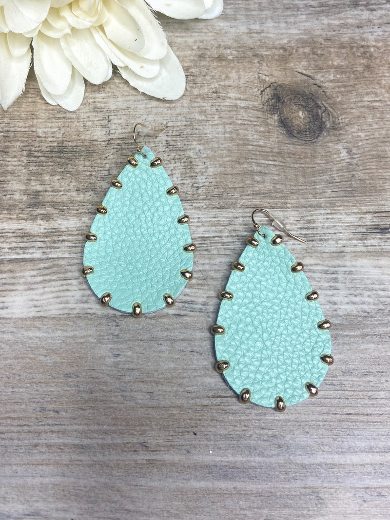 Gold Studded Light Mint Leather Earrings