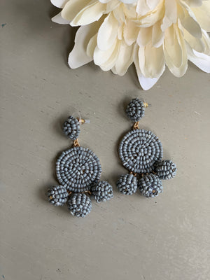 Grey Skies Beaded Earrings