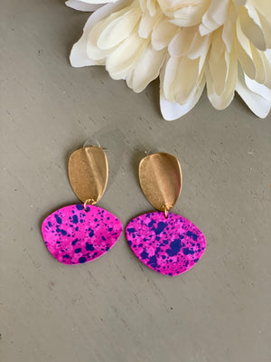 Pink Speckled Earrings