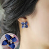 Noble Blue Flower Earring - Trending Curve