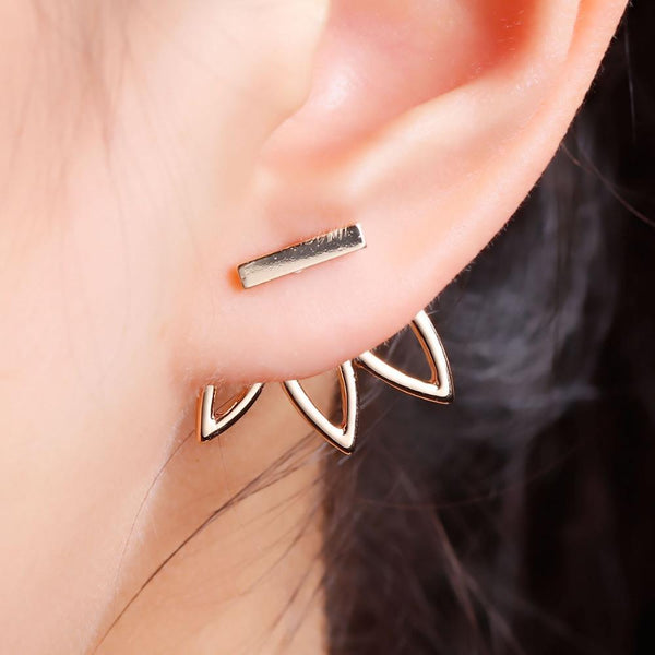 Lotus Metal Bar Stud Earrings - Trending Curve