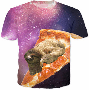 Sloth Galaxy Pizza T-Shirt