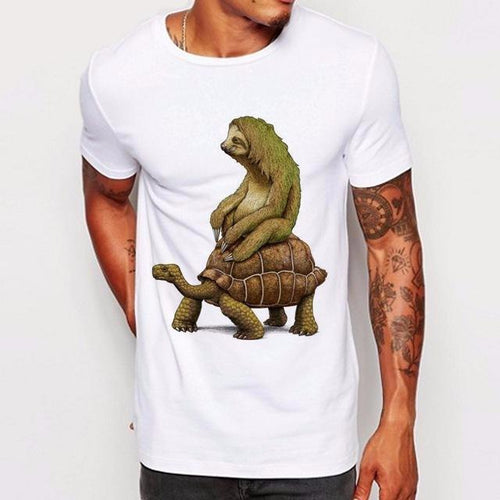 Sloth on a Tortoise Men T Shirts