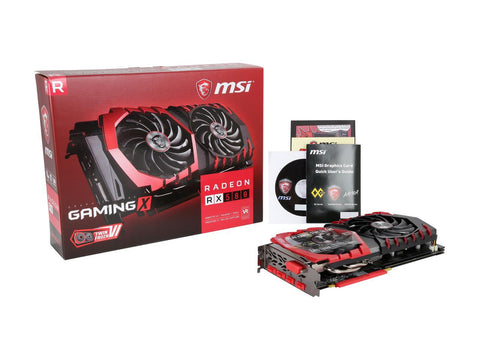 "Model Brand MSI Model RX 580 GAMING X 8G  Interface Interface PCI Express 3.0 x16  Chipset Chipset Manufacturer AMD GPU Series AMD Radeon RX 500 Series GPU Radeon RX 580 Core Clock 1393 MHz (OC) 1380 MHz (Gaming) 1340 MHz (Silent) Stream Processors 2304 Stream Processors  Memory Effective Memory Clock 8100 MHz (OC) 8000 MHz (Gaming / Silent) Memory Size 8GB Memory Interface 256-Bit Memory Type GDDR5  3D API DirectX DirectX 12 OpenGL OpenGL 4.5  Ports HDMI 2 x HDMI Multi-Monitor Support 5 DisplayPort 2 x DisplayPort DVI 1 x DL-DVI-D  Details CrossFireX Support Yes Virtual Reality Ready Yes Cooler Double Fans System Requirements Power consumption: 150W Recommended PSU: 500W Power Connector 8-Pin Dual-Link DVI Supported Yes HDCP Ready Yes  Features Features TWIN FROZR VI - Smooth Heat Pipes: Squared shape at bottom maximize heat transfer from the copper base plate. - Zero Frozr: Stopping the fan in low-load situations, keeping a noise-free environment. - Airflow Control Technology: Deflectors thrusts air onto heat pipes for lower temperatures and better gaming.  TORX FAN 2.0: Supremely silent - Dispersion fan blade: Steeper curved blade accelerating the airflow. - Traditional fan blade: Provides steady airflow to massive heat sink below. - Double ball bearing: Strong and lasting core for years of smooth gaming.  Gaming App - Instant Performance Gain: Unlock extra performance or keep your card silent during light use in one click. - LED control: Full control on your RGB GAMING LEDs to set the mood.  Form Factor & Dimensions Max GPU Length 276 mm Card Dimensions (L x H) 10.87"" x 5.51"" Slot Width Dual Slot"