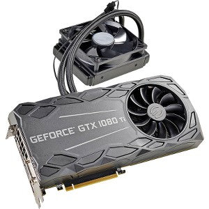EVGA  GTX 1080 Ti Graphic Card - 1.57 GHz Core - 1.68 GHz - 11 GB GDDR5X -  - 352 bit Bus Width - Fan/Liquid Cooler - OpenGL 4.5, DirectX 12, Vulkan - 3 x DisplayPort - 1 x HDMI -  4 x Monitors Supported 11GB GDDR5X HYBRID & RGB LED