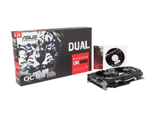 Asus DUAL-RX580-O8G Radeon RX 580 Graphic Card - 1.36 GHz Core - 1.38 GHz Boost Clock - 8 GB GDDR5 - 256 bit Bus Width - Fan Cooler - DirectX 12, OpenGL 4.5 - 2 x DisplayPort - 2 x HDMI - 1 x DVI