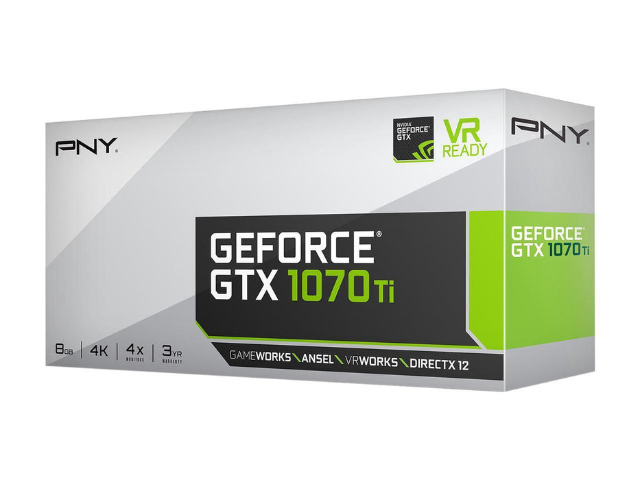 PNY GeForce GTX 1070 Ti DirectX 12 VCGGTX1070T8PB-CG 8GB 256-Bit GDDR5 PCI Express 3.0 x16 HDCP Ready SLI Support Video Card
