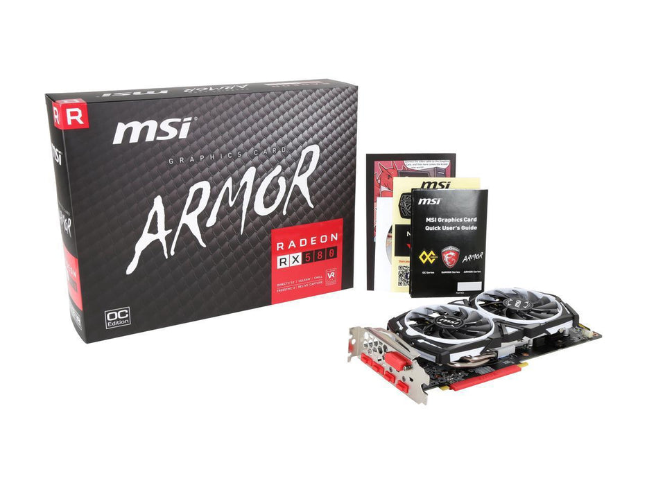 MSI Radeon RX 580 DirectX 12 RX 580 ARMOR 8G OC 8GB 256-Bit GDDR5 PCI Express x16 HDCP Ready CrossFireX Support Video Card 4 x Monitors Supported PCIE 8GB GDDR5 DP HDMI DVID VR RDY