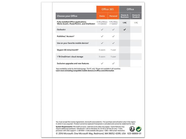 Microsoft Office Home and Business 2016 Product Key Card T5D-02776 1 PC