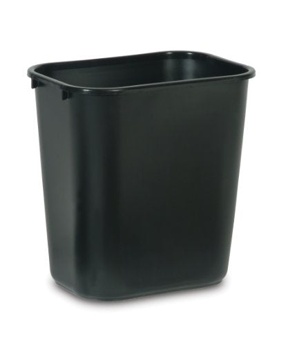 Rubbermaid FG295600BLA Commercial Products Plastic Deskside Wastebasket, 7-Gallon, Black( pack of 12)