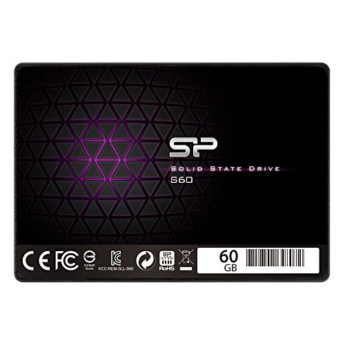 "Silicon Power 60GB SSD S60 MLC High Endurance SATA III 2.5"" 7mm (0.28"") Internal Solid State Drive- Free-download SSD Health Monitor Tool Included (SP060GBSS3S60S25AE)"
