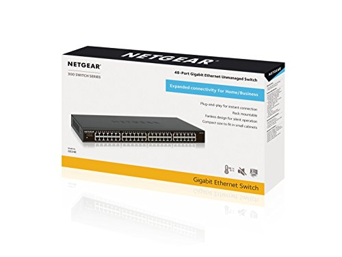 NETGEAR GS348  48-Port  Gigabit Ethernet Rackmount Network Business Essentials Switch | Desktop  | Fanless | Sturdy Metal | Plug-and-Play | Unmanaged