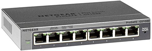 NETGEAR GS108Ev3 8-Port Gigabit Smart Managed Plus Switch | ProSAFE Lifetime Protection