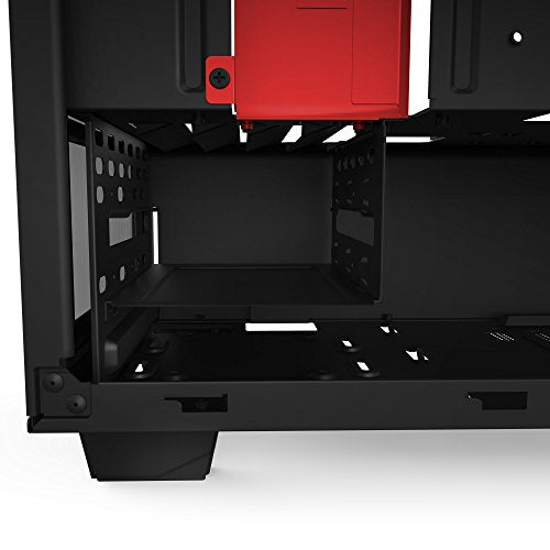 NZXT S340 Mid Tower Computer Case,  Matte Black/Red (CA-S340MB-GR)