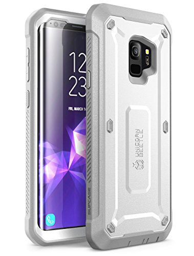 Samsung Galaxy S9 Case, SUPCASE Full-body Rugged Holster Case with Built-in Screen Protector for Galaxy S9 (2018 Release), Unicorn Beetle PRO Series - Retail Package (White)