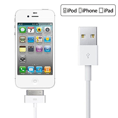 iPad Cable, 6ft White 30 Pin to USB Cable High Speed Sync Charging Cord Cables for iPhone 4/4s, iPhone 3G/3GS, iPad 1/2/4, iPod
