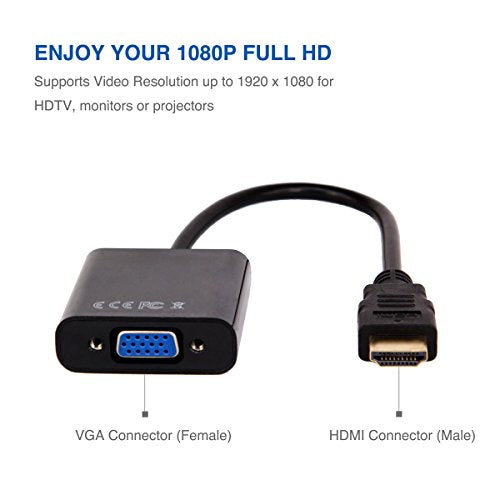 HDMI to VGA, Moread Gold-Plated HDMI to VGA Adapter (Male to Female) for Computer, Desktop, Laptop, PC, Monitor, Projector, HDTV, Chromebook, Raspberry Pi, Roku, Xbox and More - Black