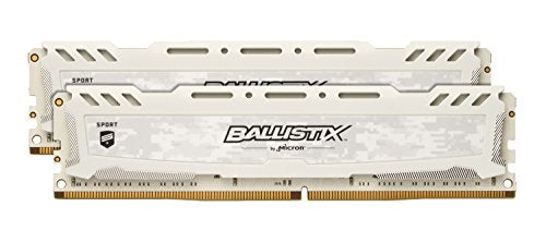 Ballistix Sport LT 32GB Kit (16GBx2) DDR4 2400 MT/s (PC4-19200) DIMM 288-Pin BLS2K16G4D240FSC (White)