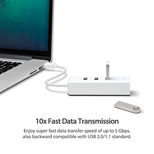 TP-Link 3-Port USB 3.0 Mini Data Hub with 10/100/1000 Gigabit Ethernet LAN Network Adapter for Apple Macbook Surface Pro XPS Laptop Ultrabook Chromebook PC Mac and more (UE330)