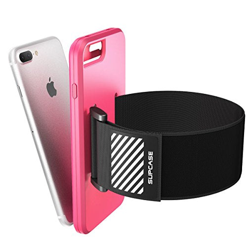 iPhone 7 Plus Armband, iPhone 8 Plus Armband, SUPCASE Easy Fitting Sport Running Armband Case with Premium Flexible Case Combo for Apple iPhone 7 Plus 2016 / iPhone 8 Plus 2017 (Pink)
