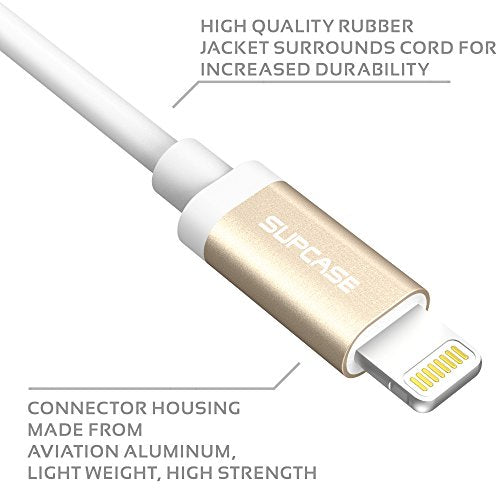Lightning Cable, SUPCASE 6 Feet (1.8m) Apple MFI Certified Lightning to USB Heavy Duty Premium Cable (White)