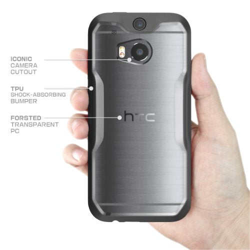 HTC One M8 Case, SUPCASE Unicorn Beetle Premium Hybrid Protective Case for All New HTC One M8 2014 Release (Frost Clear/Black)