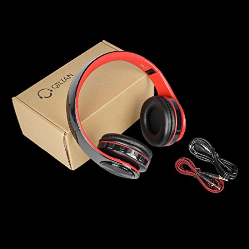 Bluetooth Headphones Over Ear, Myguru Bluetooth 4.2 Wireless Headphone Headset with Microphone for Cellphones Laptop (Red)
