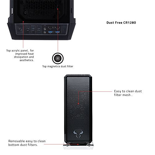 RIOTORO Full Tower, Fully Customizable RGB Color Gaming Case with Clear Window Panel [CR1280]