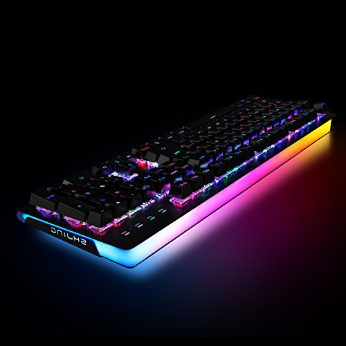 ET Robot Mechanical Gaming Keyboard RGB LED Backlit and Exclusive Side Light With MX Brown Switches USB Wired Aluminum Chassis (RGB Black)