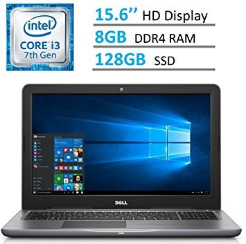 Dell Inspiron 15.6 HD (1366 x 768) LED-Backlit Laptop PC | Intel i3-7100u 2.4 GHz | 8GB DDR4 RAM | 128GB SSD | HDMI | Bluetooth | MaxxAudio | Intel HD Graphics 620 | Windows 10 | GRAY