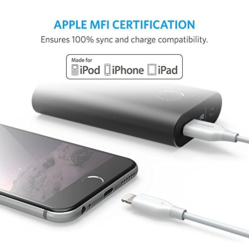 Anker PowerLine 6ft Lightning Cable, MFi Certified for iPhone X / 8 / 8 Plus / 7 / 7 Plus / 6 / 6 Plus / 5 / 5S (White)