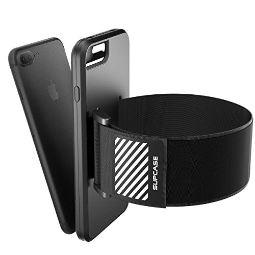 iPhone 8 Plus Armband, SUPCASE Easy Fitting Sport Running Armband Case with Premium Flexible Case Combo for Apple iPhone 8 Plus 2017 Release (Compatible with iPhone 7 Plus) (Black)