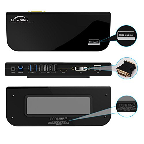 Docking Station, BESTHING USB 3.0 Universal Laptop Docking Station, Dual Display with HDMI & DVI / VGA, Gigabit Ethernet, Audio, 6 USB Ports for Laptop, Ultrabook and PCs (Black)