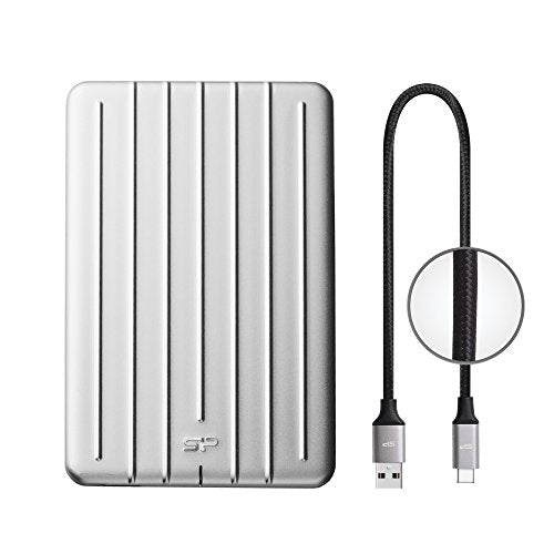 "Silicon Power 2TB Slim & Rugged Armor A75 Shockproof USB 3.0 (USB 3.1 Gen 1) 2.5"" Portable External Hard Drive for PC, Mac (Xbox, PS4 Compatible), with Nylon Braided Type C to A Cable, Silver"