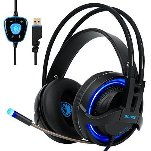 [2017 SADES R2 New Version PC Gaming Headset], 7.1 Surround Sound Gaming Headphones with Retractable Mic USB Gaming Headsets Stereo Professional headsets Noise Isolation Volume Control