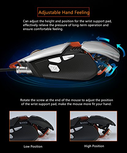 Ajazz GTX Professional RGB Mechanical Mouse, 7 Programmable Buttons Adjustable Wrist Support and Counterweight Slot Gaming Mouse, Black
