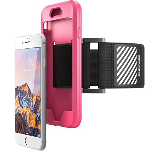 iPhone 8 Armband, SUPCASE Easy Fitting Sport Running Armband Case with Premium Flexible Case Combo for Apple iPhone 7 2016 / iPhone 8 2017 (Pink)