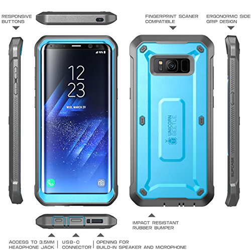 SUPCASE Galaxy S8 Case Full-body Rugged Holster Case WITHOUT Screen Protector for Galaxy S8 (2017 Release), Unicorn Beetle PRO Series - Retail Package (Blue/Black)