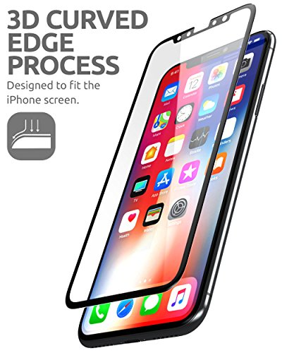 Supcase iPhone X Screen Protector, Premium 3D Curved Edge Tempered Glass Screen Protector for Apple iPhone X [1-Pack] The installation video shows in detail page under Product information