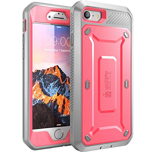 iPhone 7 Case, iPhone 8 Case, SUPCASE Unicorn Beetle PRO Series Full-body Rugged Holster Case with Built-in Screen Protector for Apple iPhone 7 2016 / iPhone 8 2017 (Pink/Gray)