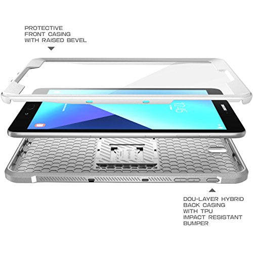 "SUPCASE Galaxy Tab S3 9.7"" Case Unicorn Beetle Pro Series Full-Body Rugged with Built-In Screen Protector, White/Gray (SUP-Galaxy-TabS3-9.7-UBPro-White/Gray)"