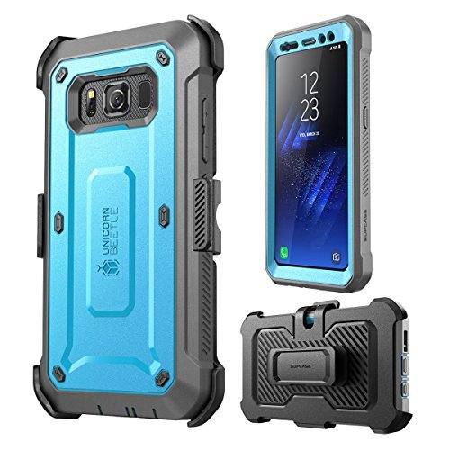 Galaxy S8 Active Case, SUPCASE [Unicorn Beetle PRO Series] Full-body Rugged Holster Case with Built-in Screen Protector for Samsung Galaxy S8 Active (Not Fit Regular Galaxy S8/S8 Plus) (Blue/Gray)